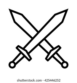 Swords / blades crossed, fight or battle line art vector icon for games and websites