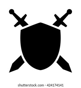 Swords / blades crossed sheath in shield flat vector icon for games and websites