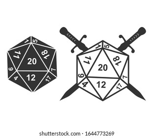 Swords crossed with 20 side Vector Illustration. D20 dungeons