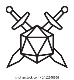 Swords crossed with 20 sided / d20 or 20d dice line vector icon for apps and websites