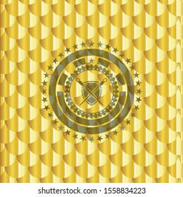 swords crossed with shield icon inside golden badge. Scales pattern. Vector Illustration. Detailed.