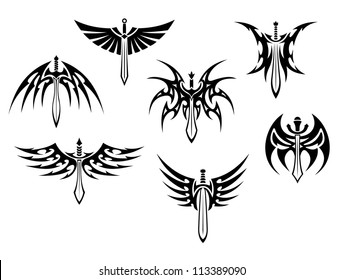 Swords and daggers tribal tattoos set isolated on white background, such a logo template. Jpeg version also available in gallery