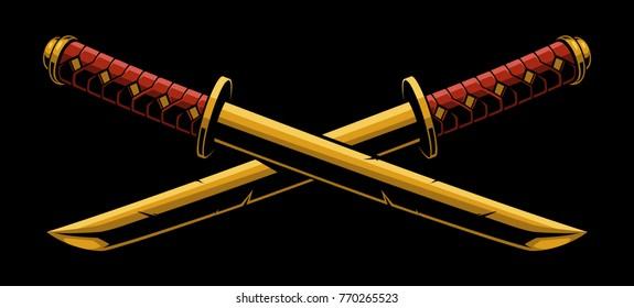 Swords of katana o tanto. Isolataed on dark background.