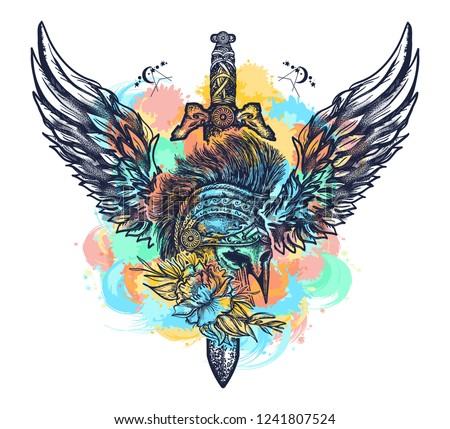 Swords Rose Angel Wings Tattoo Symbol Stock Vector Royalty Free