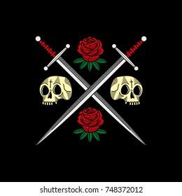 Swords Roses Skulls Black Background