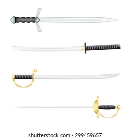 The Swords saber and a epee on a white background