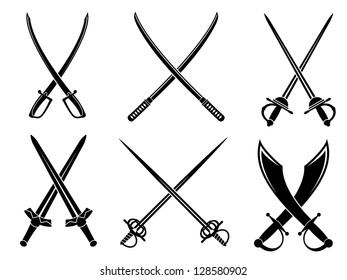 Swords, sabres and longswords set for heraldry design. Jpeg version also available in gallery