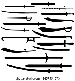 swords set. European straight swords, vector illustration
