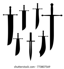 swords set. sword isolated on white background , Military sword  ancient weapon design silhouette, European straight swords., vector illustration, Daggers and Knifes Hand Drawn