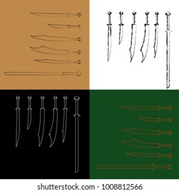 swords set. sword isolated, weapon design, weapon silhouette, Scimitar sword icon, Simple illustration of scimitar sword vector icon for web.
