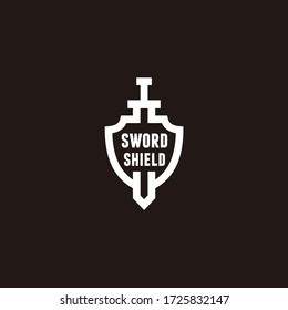 Swords and shield minimalist logo design template vector icon illustration