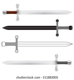 Swords. Vector illustration isolated on white background