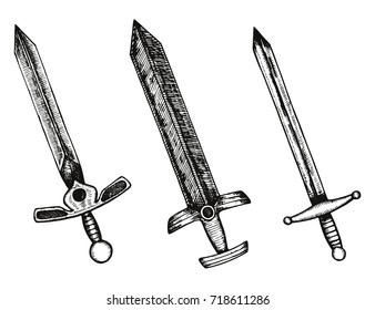 swords vintage vector. hand drawing isolated