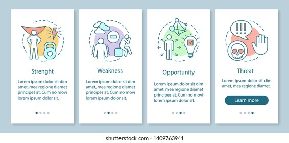 SWOT analysis onboarding mobile app page screen with linear concepts. Strength, weakness, opportunity, threat walkthrough steps graphic instructions. UX, UI, GUI vector template with illustrations