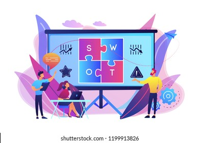 SWOT analysis team working on list of your opportunities, strategizing and monitoring. SWOT analysis and matrix, strategic planning concept. Bright vibrant violet vector isolated illustration