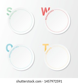 Swot analysis template. Blank circle design. Vector illustration EPS 10