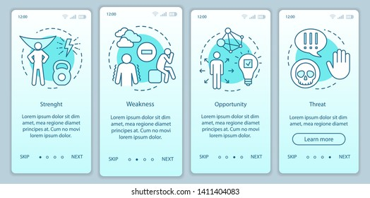 SWOT analysis turquoise gradient onboarding mobile app page screen vector template. Strength, weakness,  threat walkthrough website steps with  illustrations. UX, UI, GUI smartphone interface concept