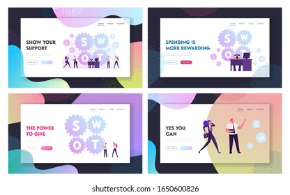 Swot Business Analysis Website Landing Page Set. Businesspeople Using Strategy Strengths, Weaknesses, Opportunities, Threats at Work in Office Web Page Banner. Cartoon Flat Vector Illustration