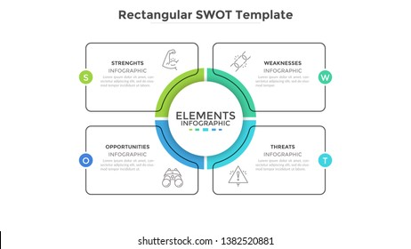 SWOT diagram with 4 rectangular elements. Comparison chart, analysis of advantages and disadvantages of company. Flat infographic design template. Vector illustration for strategic business planning.