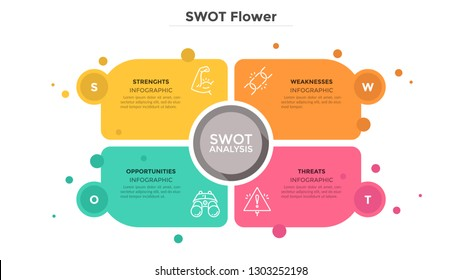 SWOT flower diagram consisted of 4 colorful elements or cards. Advantages and disadvantages of company. Flat infographic design template. Vector illustration for business analysis, strategic planning.