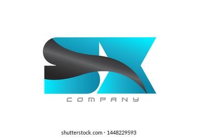 SX S X blue black alphabet combination letter logo design suitable for a company or business
