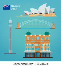 Sydney Architecture Buildings. Tourism Australia. Opera House. Vector illustration