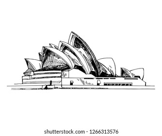 Sydney, Australia - 01.11.2018: Hand drawn sketch style Sydney Opera House. Vector illustration isolated on white background.