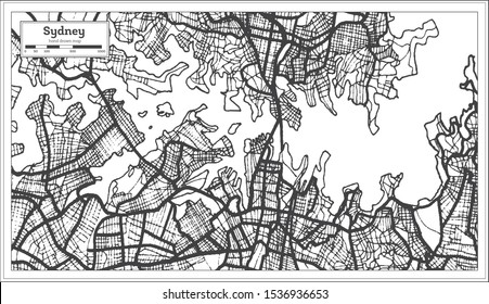Sydney Australia City Map in Black and White Color. Outline Map. Vector Illustration.
