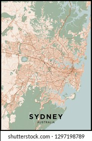 Sydney (Australia) city map. Poster with map of Sydney in color. Scheme of streets and roads of Sydney.