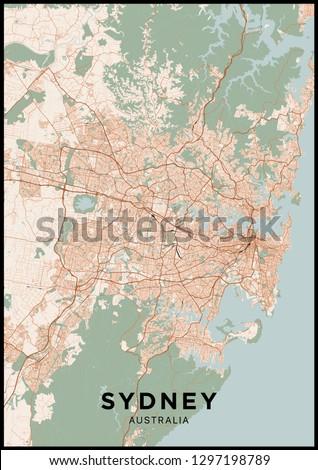 Australia Map Poster.Sydney Australia City Map Poster Map Stock Vector Royalty Free