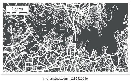 Sydney Australia City Map in Retro Style. Outline Map. Vector Illustration.