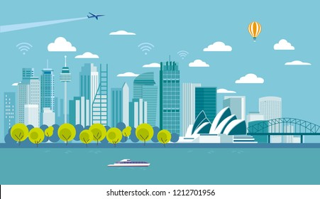 Sydney (Australia) city skyline with major architecture landmarks. Flat vector illustration.