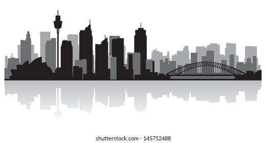 Sydney Australia city skyline silhouette vector illustration