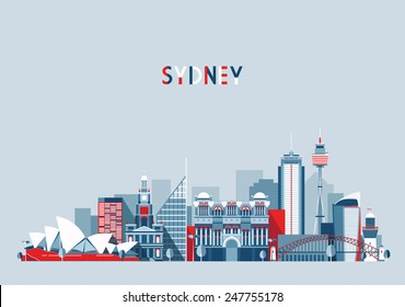 Sydney (Australia) city skyline vector background. Flat trendy illustration.