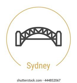 Sydney (Australia) outline icon with caption. Sydney City logo, landmark, vector symbol. Sydney Harbour Bridge. Illustration of Sydney isolated on white background.