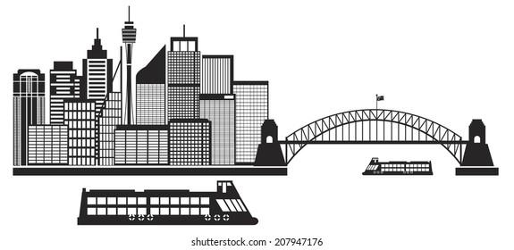 Sydney Australia Skyline Landmarks Harbour Bridge Black Isolated on White Background Vector Illustration