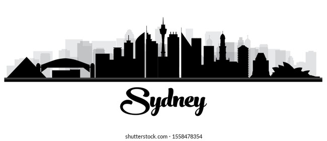 Sydney Australia Skyline Silhouette with Black Buildings Isolated on White. Vector Illustration.