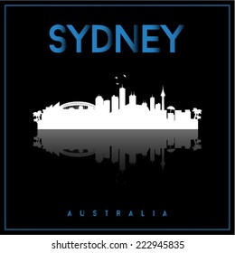 Sydney, Australia skyline silhouette vector design on parliament blue and black background.