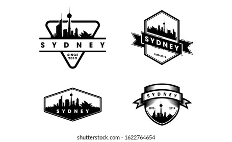 Sydney Badge Logo, Sydney skyline and landmarks silhouette vector