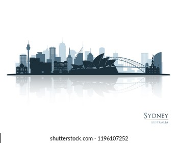 Sydney blue skyline silhouette with reflection. Vector illustration.