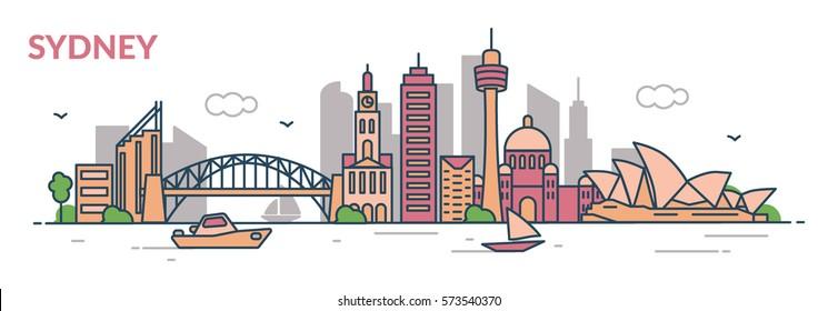 Sydney city. Flat line style. Vector