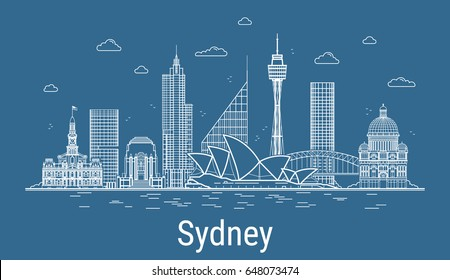 Sydney city, Line Art Vector illustration with all famous towers. Linear Banner with Showplace, Skyscrapers and hotels. Composition of Modern buildings, Cityscape. Sydney buildings set