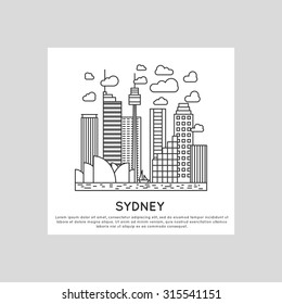 sydney city line vector illustration