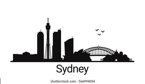 Die Skyline der Stadt Sydney. Alle Gebäude in Sydney - anpassbare Objekte, sodass Sie die Skyline-Zusammensetzung einfach ändern können. Minimales Design.