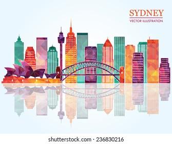 Sydney City skyline detailed silhouette. Vector illustration