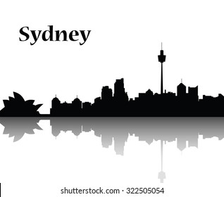 Sydney city skyline  vector flat design monochrome illustration, black silhouette