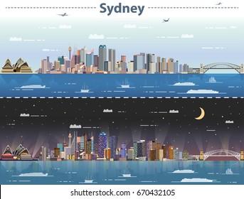 Sydney day and night city skyline vector illustration