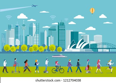 Sydney panoramic skyline with major architecture landmarks. In the front people walking. Flat vector illustration.