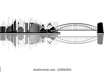 sydney skyline with the bridge and opera house near the river