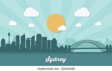 Sydney skyline - flat design - vector illustration